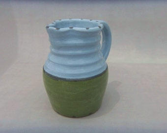 Pottery Water Pitcher- Blue and Green - Free Shipping