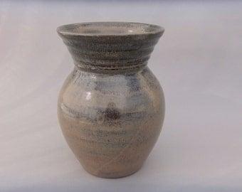 Wide Mouth Ceramic Vase - Mottled Brown and Black  Pottery Vase