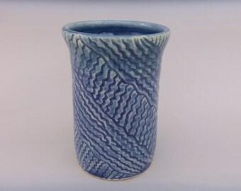 Kitchen Utensil Crock -  Utensil /Tool Holder - Blue Hand Carved Pottery