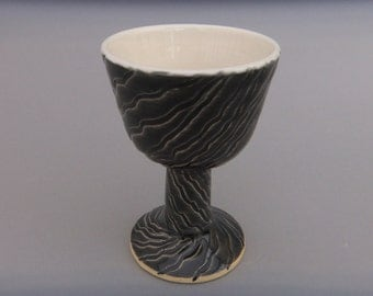Black Pottery Goblet -  Wheel Thrown and Hand Carved Ceramic Wine Kiddush Cup