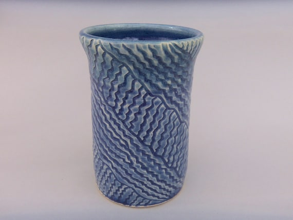 Kitchen Utensil Crock -  Utensil /Tool Holder - Blue Hand Carved Pottery
