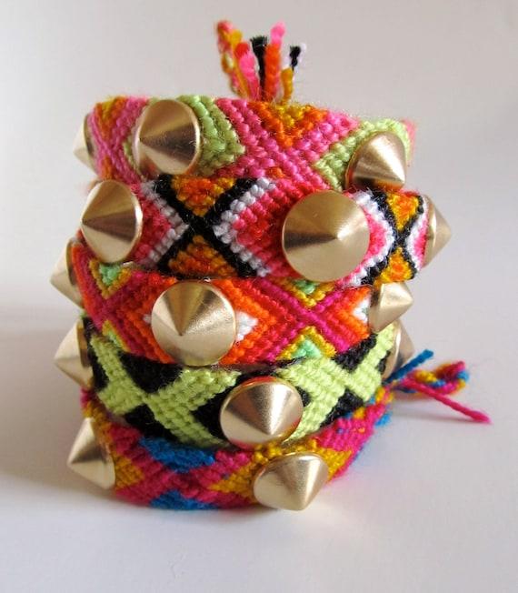 Choose Spike Studded Friendship Bracelet (1) Gold