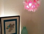 12 Inch White Glitter paper on hot pink hanging Fuzzy Lamp / Lantern
