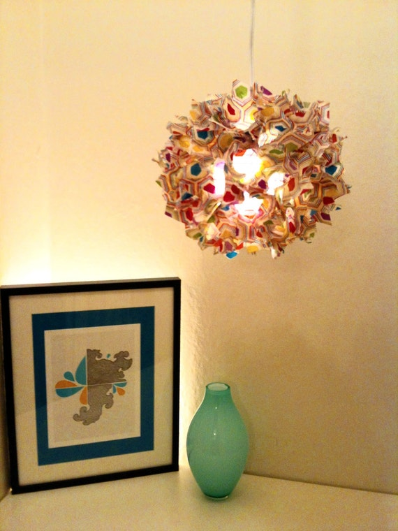 12 Inch Multi-colored Hexagon hanging Fuzzy Lamp / Lantern
