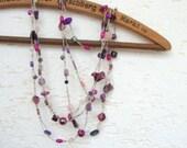 Purple necklace /beaded necklace / czech glass / boho necklace