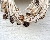 Wooden necklace / multistrand linen necklace / off white / hemp necklace / rustic necklace