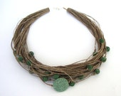 CLEARANCE SALE - Green lava linen necklace / multistrand  necklace / indie necklace