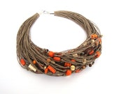 Natural linen necklace / wooden necklace / multristrand necklace /  eco jewelry