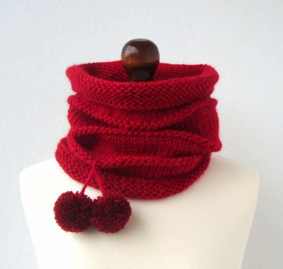 SALE 50% OFF - Cranberry red hand knitted cowl cozy warm neck warmer