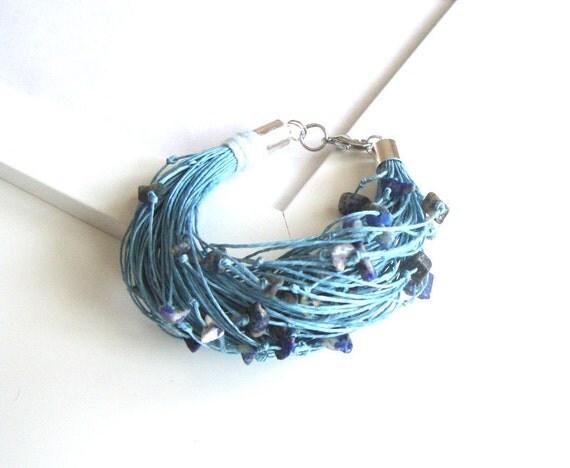 Linen bracelet , eco style bracelet , blue bracelet
