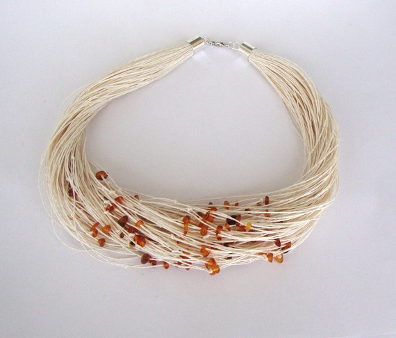 Amber necklace,statement necklace, ivory linen necklace, eco style wedding necklace