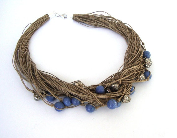 Blue beaded necklace, multistrand linen necklace, stone necklace, summer fashion, indie necklace