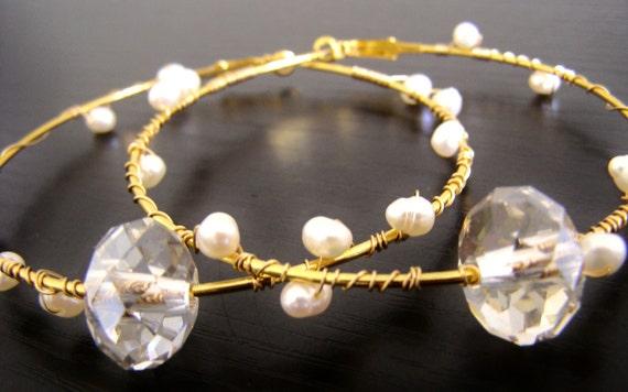 Large Gold Hoop Earrings, Swarovski and Freshwater Pearls - (Jasmine)