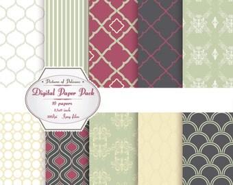 Digital scrapbook Paper Pack green yellow clip art ornate pattern