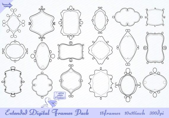 VALUE PACK Digital frames Value pack clip art doodle labels set of 54