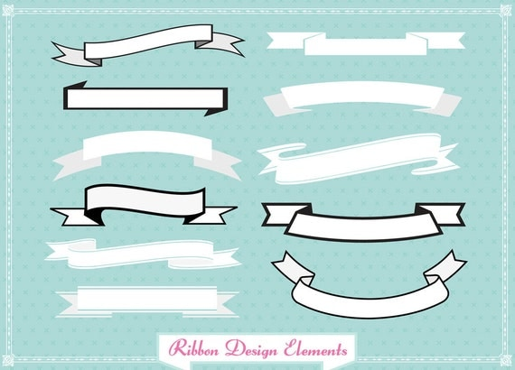 Ribbon Banner set clip art for digital scrapbooking, labels, invitations INCLUDING BLACK versions