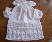 New Hand Knit Tapestry Christening Gown Set 0-3M