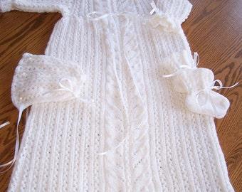 New Hand Knit Christening Set