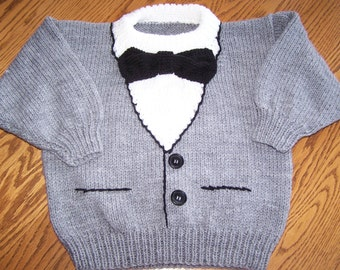 New Hand Knit Tuxedo Sweater for your little guy