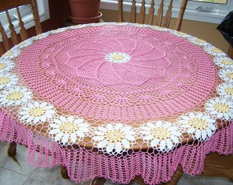 New Hand Crocheted Daisy Chain Tablecloth in Bright Pink 62 inch