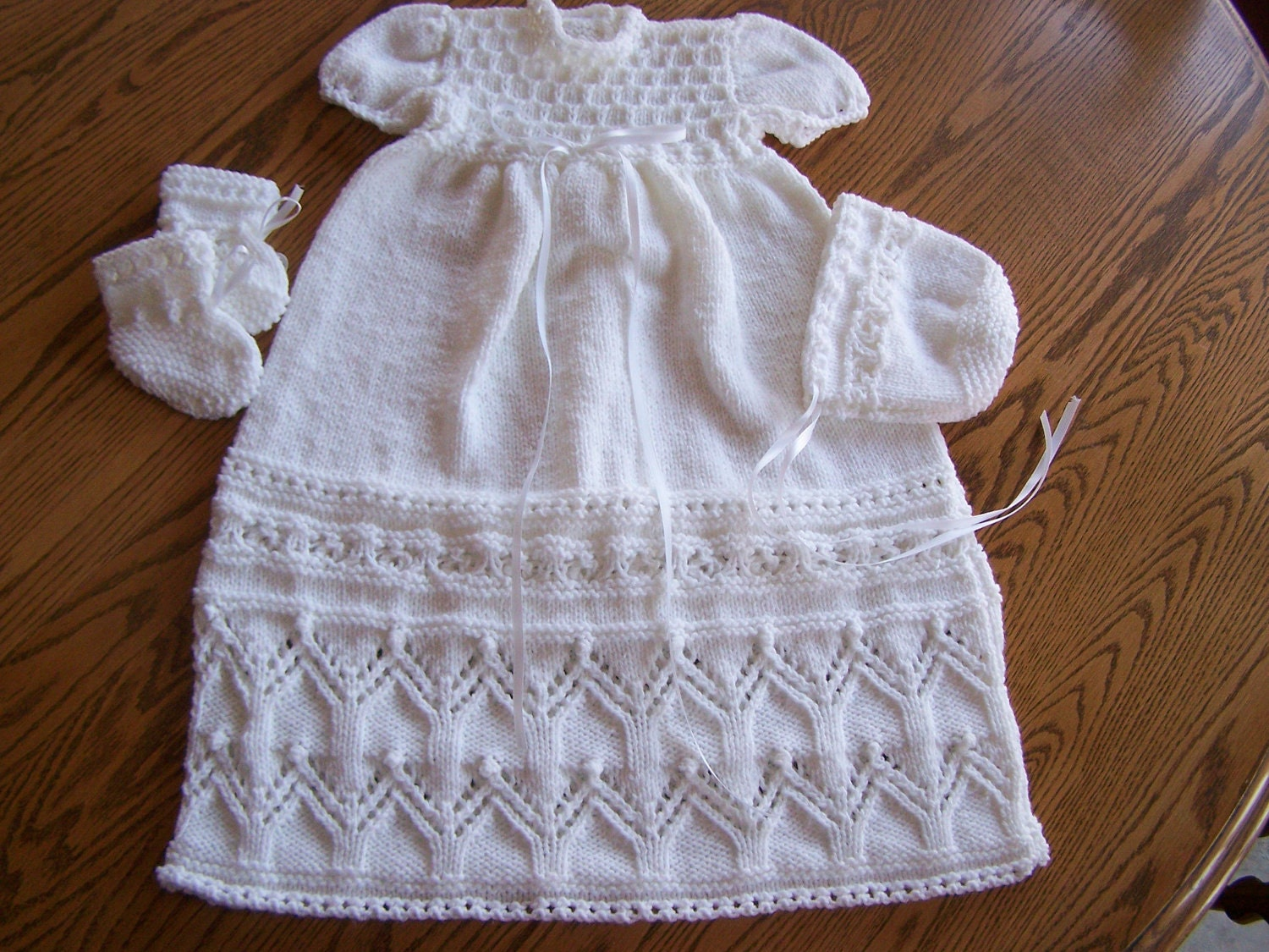 Christening Gown Knitting Patterns : New Hand Knit Tapestry Christening Gown Set 0-3M