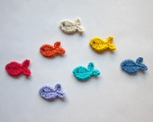 Instant Download - PDF Crochet Pattern - Fish Applique - Text instructions and SYMBOL CHART instructions