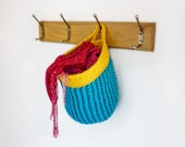 Instant Download - PDF CROCHET PATTERN - Colorful Hanging Basket  -  Permission to Sell Finished Items