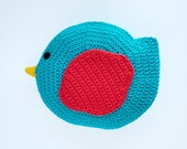 Bird Pillow - PDF Crochet Pattern - Instant Download - Animal Cushion Crochet Nursery Baby Shower decor