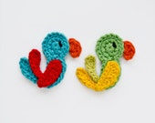 Instant Download - PDF Crochet Pattern - Parrot Applique - Text instructions and SYMBOL CHART instructions