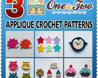 Combo Pack - Choose 3 PDF Applique Crochet Patterns for 8.50 Dollars - Special Offer Pattern Pack Embellishment Accessories Animal Motif
