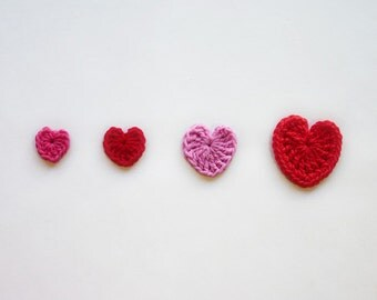 Instant Download - PDF Crochet Pattern - Hearts (4 sizes) Applique - Text instructions and SYMBOL CHART instructions