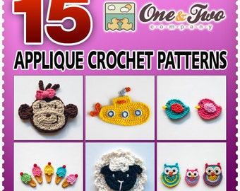 Combo Pack - Choose 15 PDF Applique Crochet Patterns for 34.50 Dollars - Special Offer Pattern Pack Embellishment Accessories Animal Motif