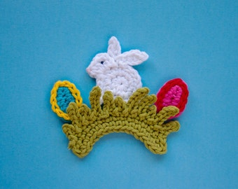 Instant Download - PDF Crochet Pattern - Easter Rabbit Applique - Text instructions and SYMBOL CHART instructions