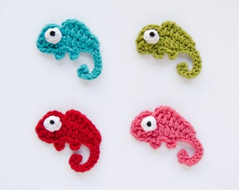 Instant Download - PDF Crochet Pattern - Chameleon Applique - Text instructions and SYMBOL CHART instructions