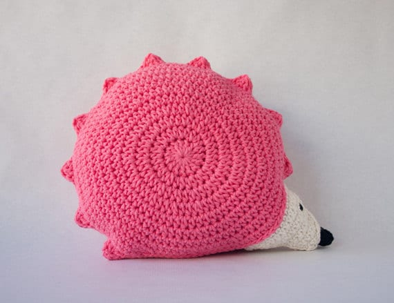 Hedgehog Pillow - PDF Crochet Pattern - Instant Download - Animal Cushion Crochet Nursery Baby Shower decor