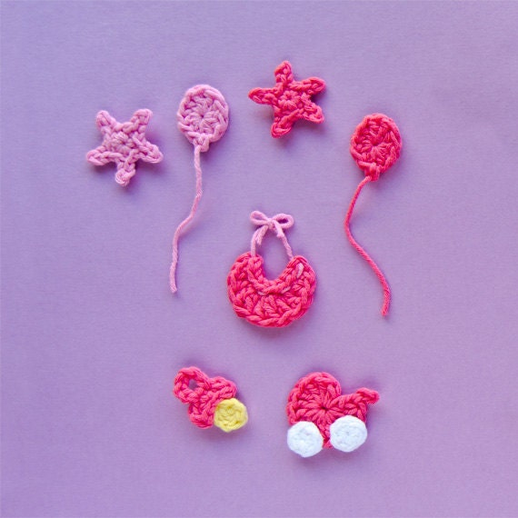 Baby Accessories Applique -  PDF Crochet Pattern - Instant Download - Embellishment Accessories Decor Ornament Scrapbooking Motif