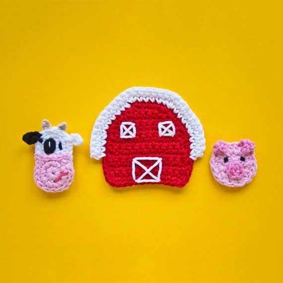 Instant Download - PDF Crochet Pattern - Cow, Pig and Farm Applique - Text instructions and SYMBOL CHART instructions