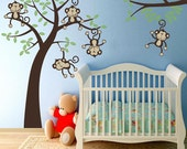 Removable and Reusable Fabric Wall Decals Baby Nursery 5 Happy Monkeys Swinging from a tree and Vine Jungle Friends