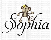 girls or boys room Custom Name With Monkey Happy Monkey Jungle Friends Vinyl Personalized Baby  Wall Decal E