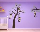 baby room nursery 3 Monkeys  Swinging from a tree and Vine and one sleeping monkey Vinyl Wall Graphics Vinyl Wall Monkeys  Jungle Friends
