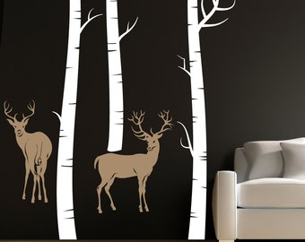 Sale Large 2 Deer with 3 Birch Trees  wall vinyl design decal A