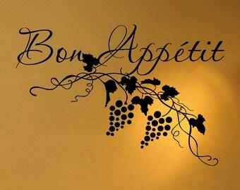 Bon Appetit wall vinyl design decal