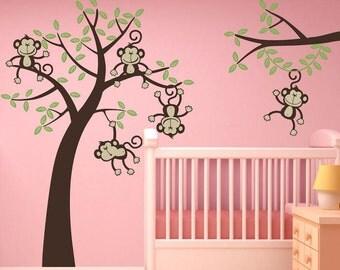 Sale Jungle Friends Happy  Monkeys 5 Monkeys  Swinging from a tree Vine Vinyl Wall Graphics Vinyl Wall Monkeys