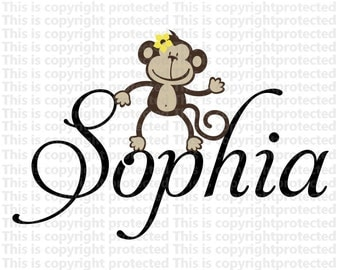 girls room Custom Name With Monkey Happy Monkey Jungle Friends Wall Monkeys Vinyl Personalized Baby  Wall Decal E