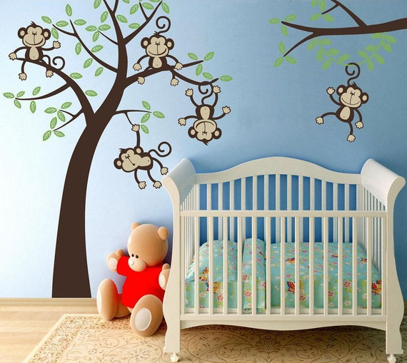 Items similar to fabric wall decals baby nursery 5 happy for Nursery monkey fabric