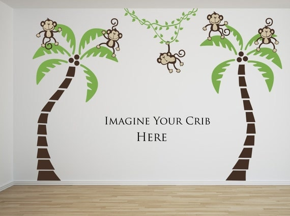 Sale Happy Boy or Girl Monkeys 5 Monkeys Swinging from 2 palm trees and a Vine Vinyl Wall Graphics Jungle Friends