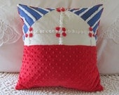 AMERICA  vintage chenille pillow cover 16 X 16 red white blue