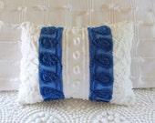 chenille pillow cover OCEAN BLUE 12 X 16 beach cottage nautical pillow