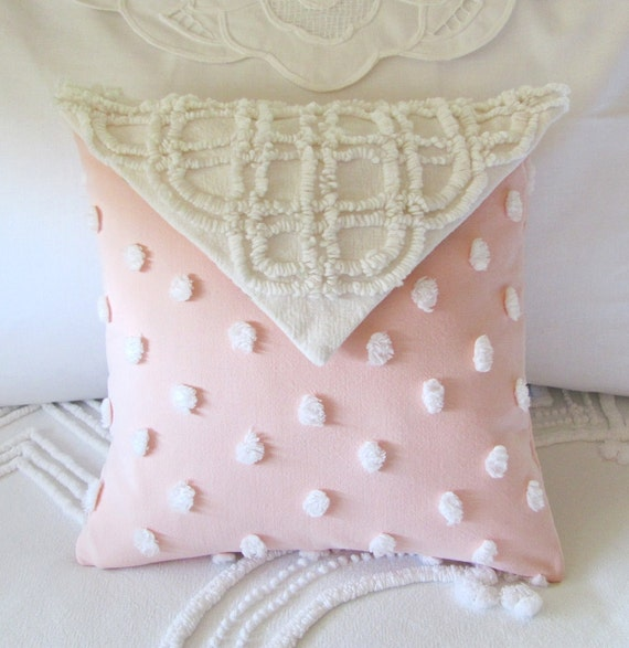 LOVE NOTE vintage chenille pillow cover with custom insert by