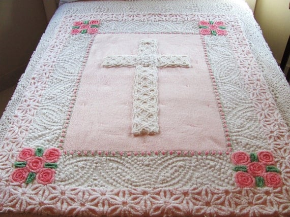pink Easter quilt, vintage chenille quilt, CELTIC CROSS, 43 X 53 inches, pink lollipop roses baby girl blanket, lap quilt
